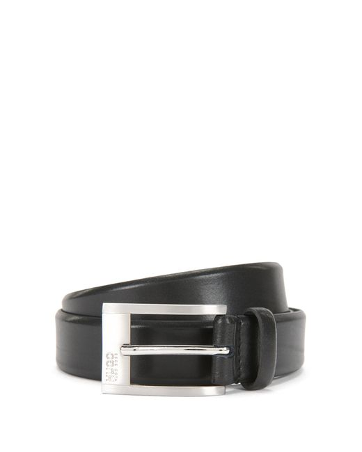 HUGO | Black Leather Belt With Engraved Pin Buckle for Men | Lyst