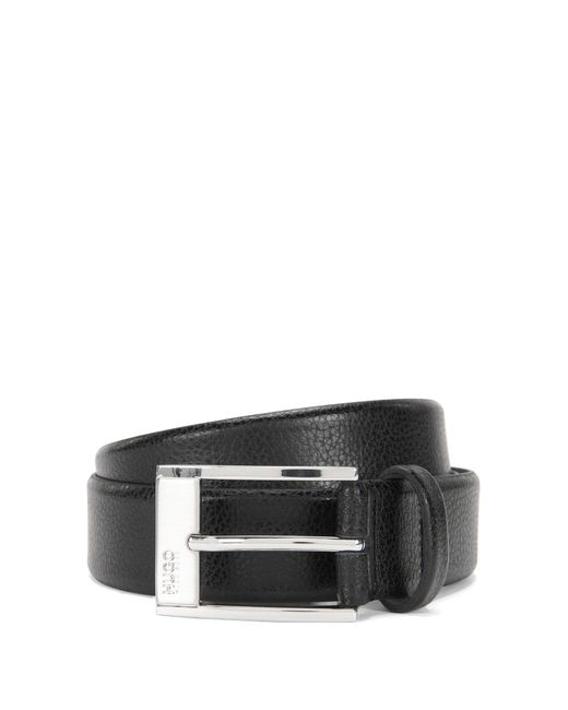 HUGO | Black Pin-buckle Belt In Grained Leather for Men | Lyst