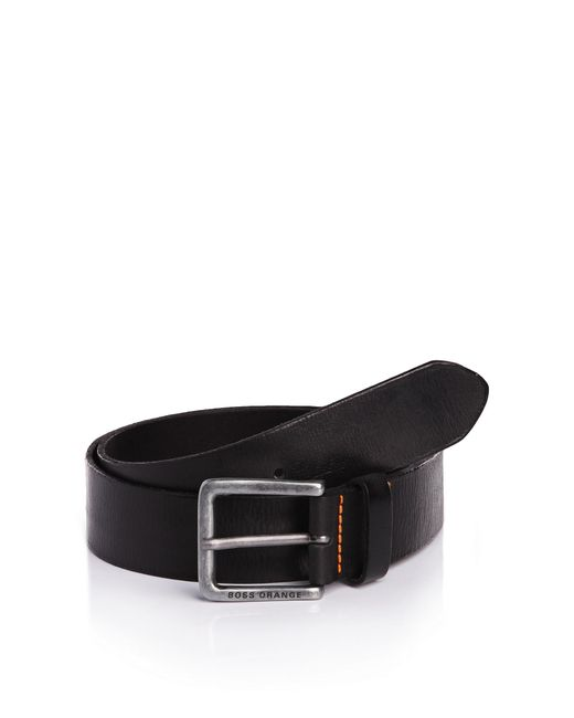BOSS Orange | Black Leather Belt With Washed Effect By for Men | Lyst