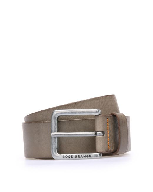 BOSS Orange   Gray Leather Belt With Washed Effect for Men   Lyst