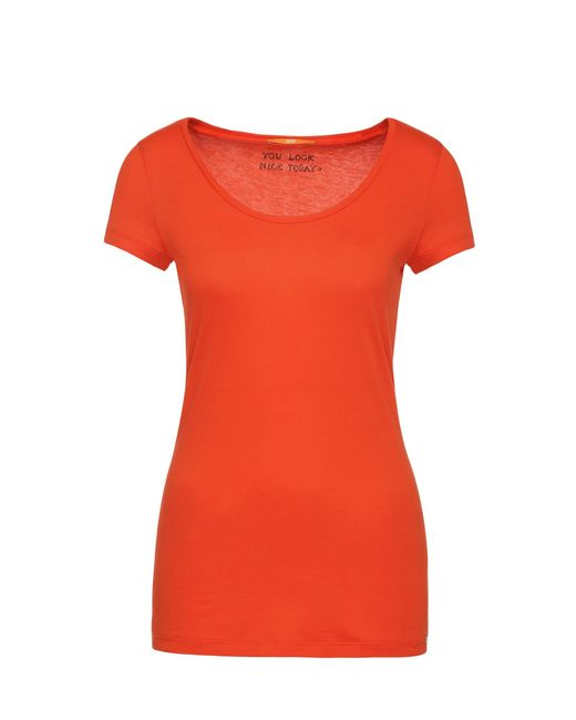 BOSS Orange | Red Slim-fit T-shirt In Peached Cotton-blend Jersey | Lyst