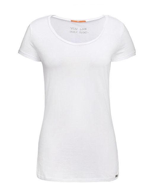 BOSS Orange | White Slim-fit T-shirt In Cotton Blend With Modal: 'tafame' | Lyst