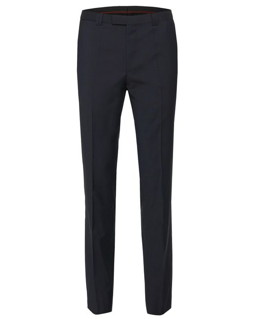 HUGO | Blue Plain-coloured Extra-slim-fit Trousers In Pure New Wool: 'hopes' for Men | Lyst