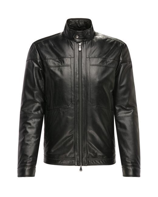 BOSS Green | Black Regular-fit Leather Jacket With A Fine Grain: 'c-jordes' for Men | Lyst