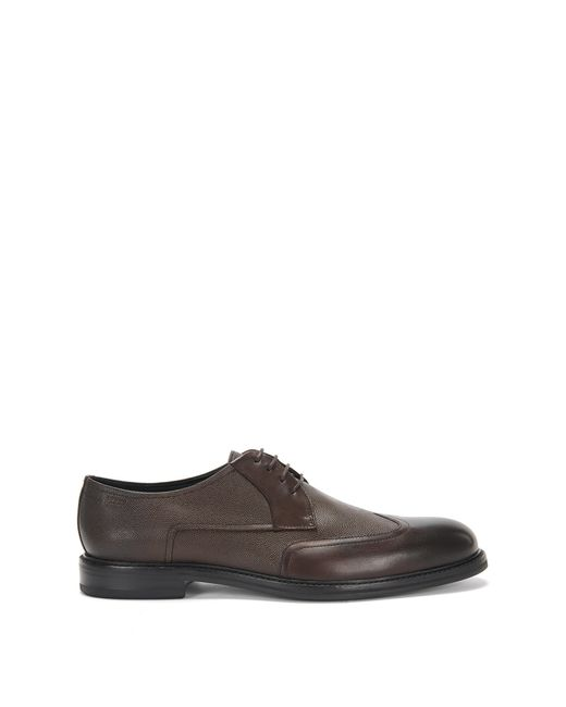 HUGO | Brown Leather Lace-up Shoes With A Mixture Of Textures: 'neoclass_derb_buwt' for Men | Lyst