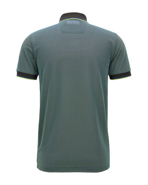 Boss green slim fit polo shirt in moisture wicking fabric for Moisture wicking button down shirts