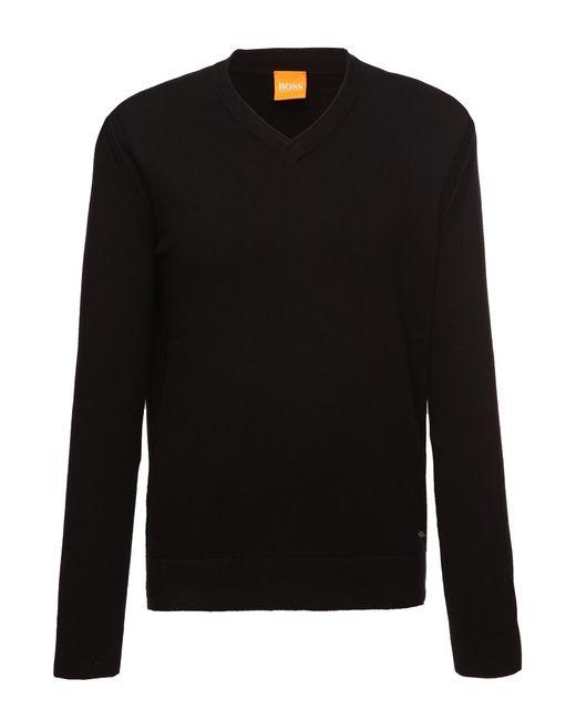 BOSS Orange | Black Cotton-blend Sweater 'albino' for Men | Lyst