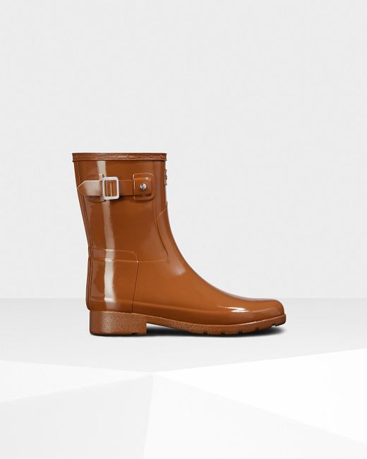 Hunter - Brown Original Leopard Print Lined Refined Short Wellington Boots - Lyst