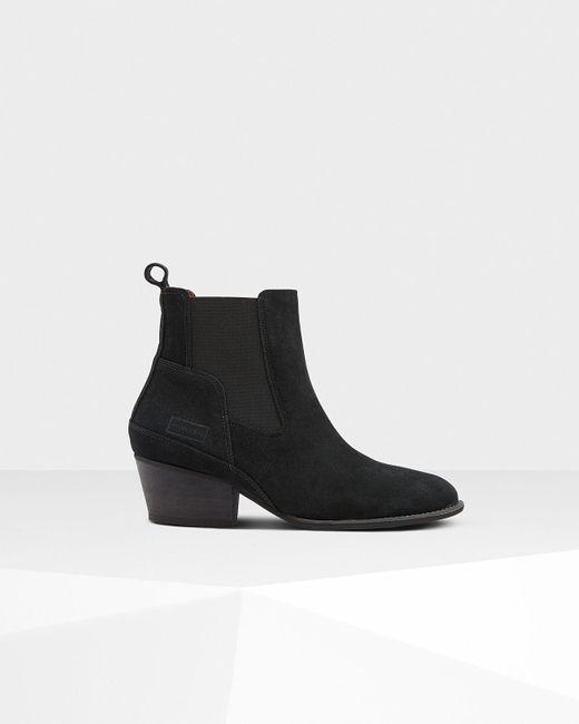 Hunter - Black Women's Original Refined Suede Chelsea Boots ...