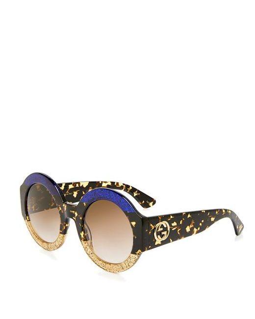 9c67c23f0 ... Gucci - Multicolor Glitter Tortoise Stripe Round Sunglasses - Lyst ...