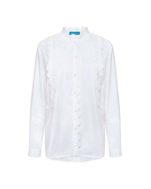 MiH Jeans | White Ile Scallop Crisp Shirt | Lyst
