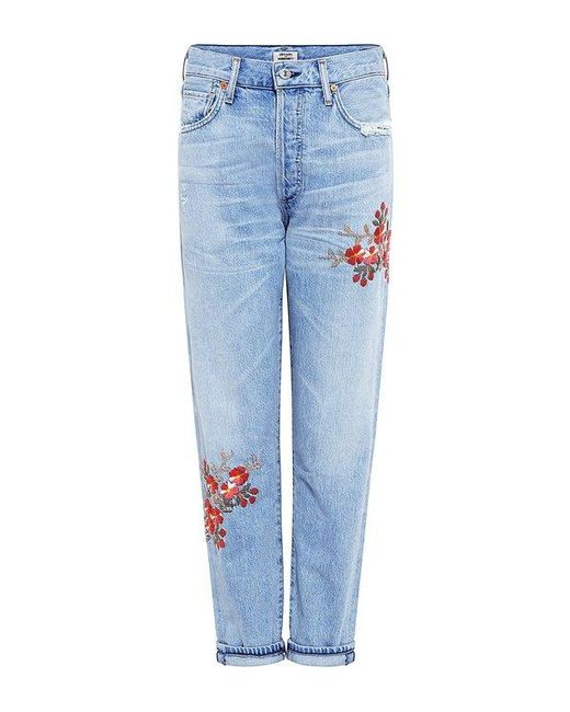 Citizens of Humanity | Blue Liya Embroidered High Rise Jeans | Lyst