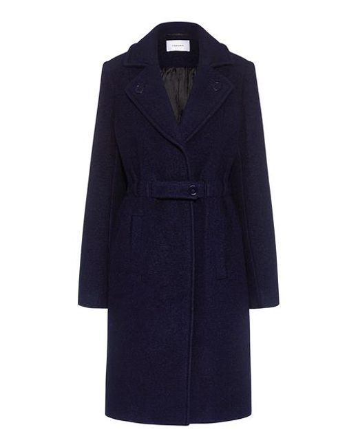 Carven - Blue Notched Lapels Belted Wool Coat - Lyst