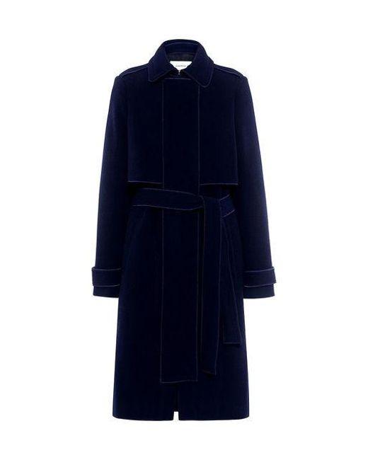 Carven - Blue Belted Felt Coat - Lyst