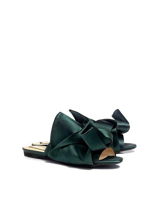 b2b16f1c7eea86 Lyst - N°21 Knotted Satin Flat Sandals in Green - Save 29%