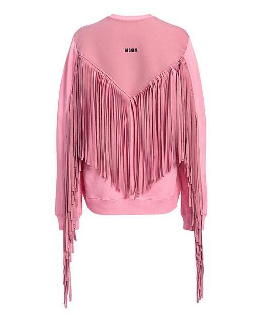 4c58716e75 Lyst - MSGM Back Fringe Sweatshirt in Pink - Save 30%
