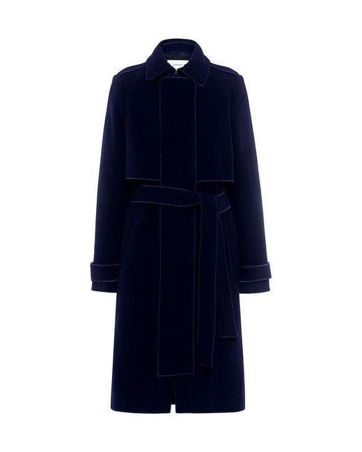 Carven | Blue Belted Felt Coat | Lyst