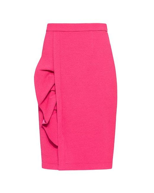 Boutique Moschino - Pink Ruffle Side Pencil Skirt - Lyst