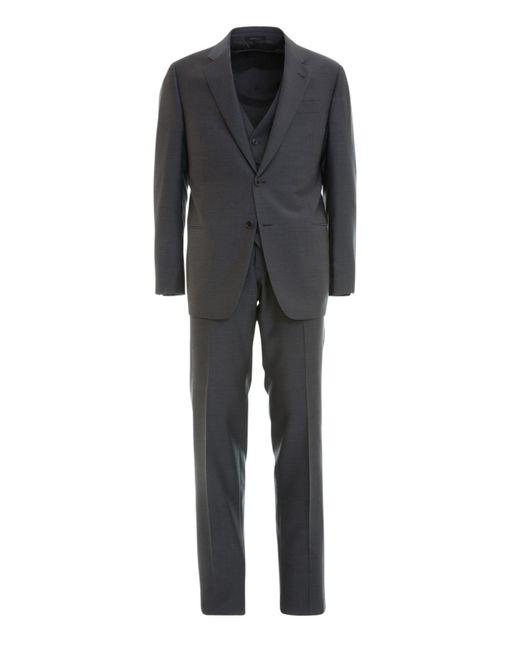 Armani Gray Wool Jacquard Three-piece Suit for men