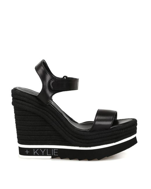Kendall + Kylie Glamor Black Leather Wedge Sandals