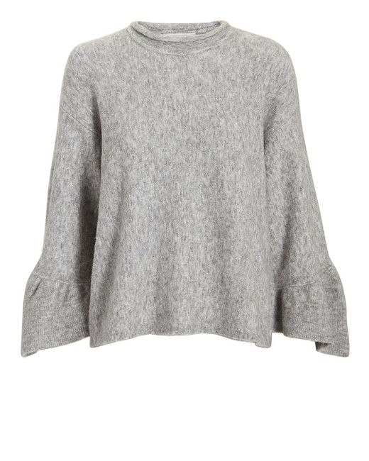 3.1 Phillip Lim - Gray Ruffle Sleeve Grey Sweater - Lyst
