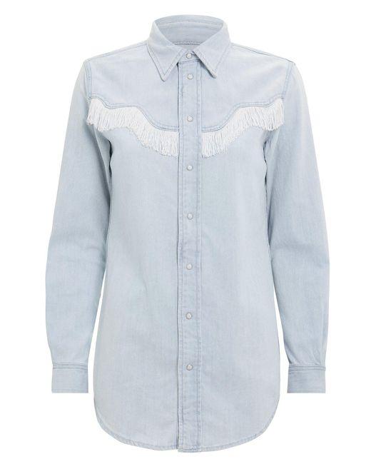 18da735d18e Ganni - Blue Soft Denim Fringe Shirt - Lyst ...