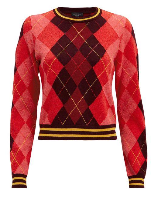 Rag & Bone - Red Dex Cropped Argyle Crewneck Sweater - Lyst