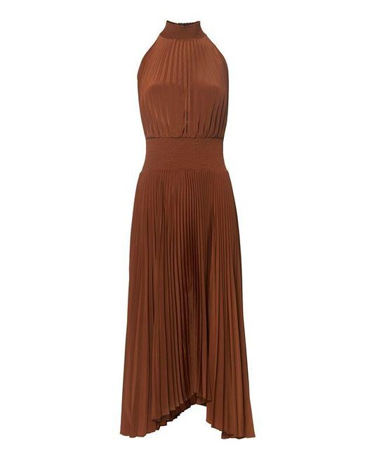 A L C Renzo Halter Dress In Brown Lyst