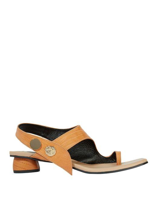 Reike Nen - Brown Embellished Leather Embossed Sandals - Lyst