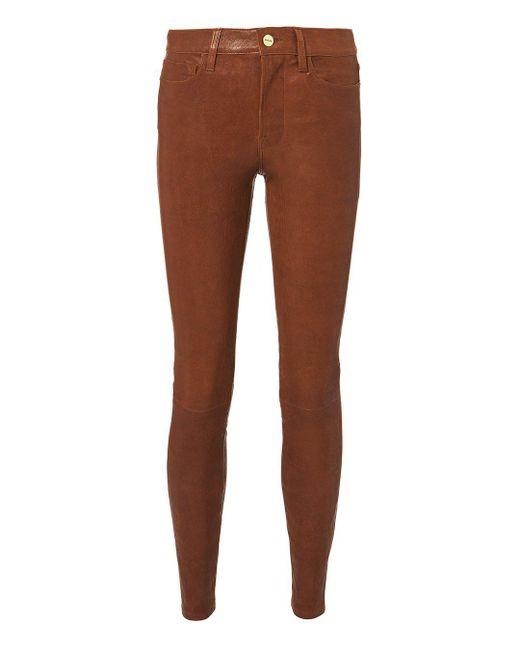 FRAME - Brown Cognac Skinny Leather Pants - Lyst