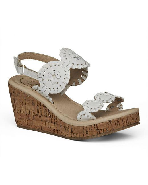 Jack Rogers - White Little Girl's & Girl's Miss Luccia Leather Slingback Wedge Sandals - Lyst