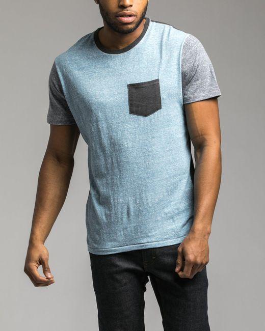 Retrofit - Blue Contrast Pocket Tee for Men - Lyst