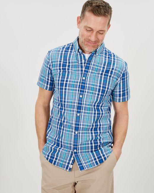 Jaeger Blue Short Sleeve End On End Check Shirt for men