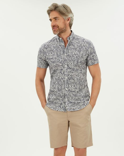 Jaeger Blue Palm Print Shirt for men