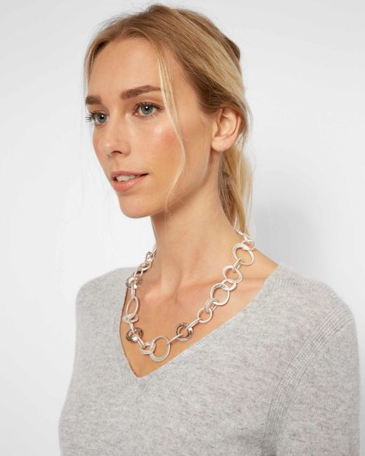 Jaeger - Metallic Melissa Metal And Crystal Loop Short Necklace - Lyst