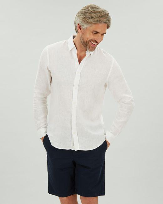 Jaeger White Long Sleeve Linen Shirt for men