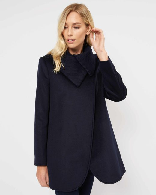 Jaeger - Blue Knit Collar Cocoon Coat - Lyst