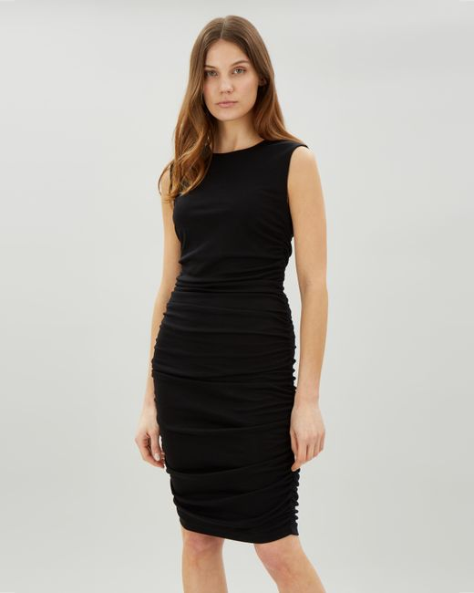 Lyst Jaeger Full Side Gathered Jersey Dress In Black