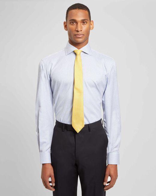 Jaeger - Blue Regular Mouline Check Shirt for Men - Lyst