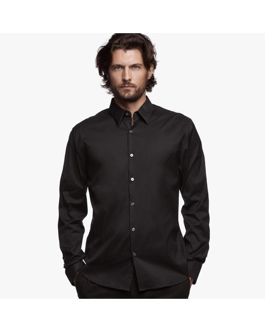 James Perse | Black Matte Stretch Poplin Dress Shirt for Men | Lyst