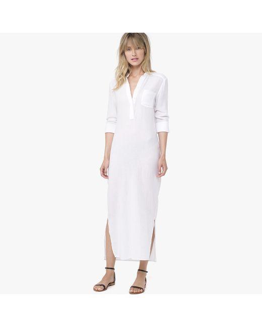 James Perse   White Long Cotton Henley Dress   Lyst