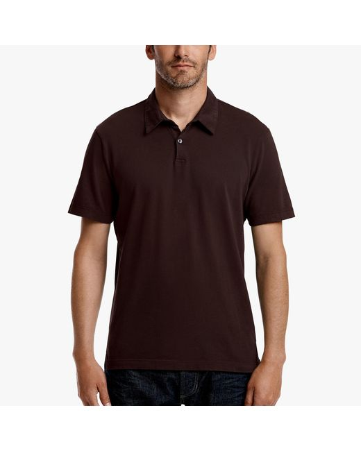 James Perse - Brown Sueded Jersey Polo for Men - Lyst