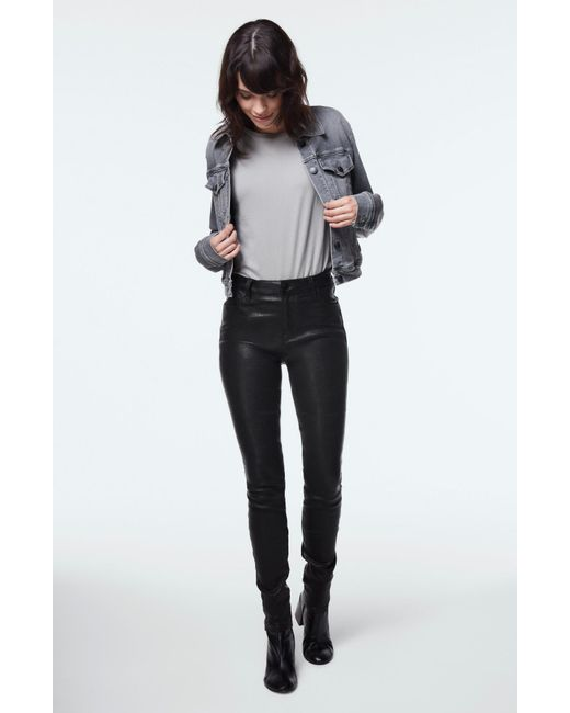 J Brand | Maria High-rise Super Skinny In Black Leather | Lyst