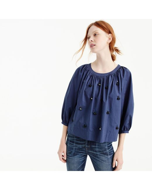 J.Crew | Blue The Perfect Embellished Top | Lyst