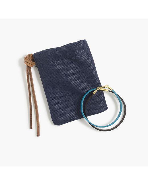 Caputo & Co. - Blue Colorblock Leather Double-wrap Bracelet for Men - Lyst