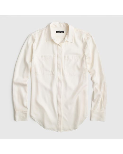 J.Crew | White Tall Silk Pocket Blouse | Lyst
