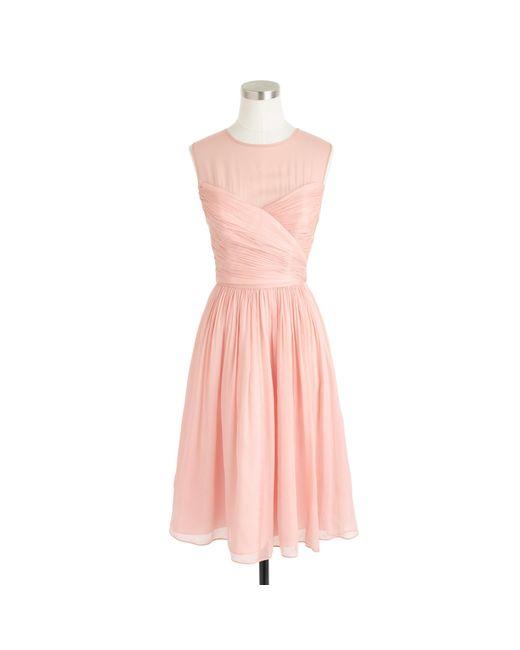 J.Crew | Pink Petite Clara Dress In Silk Chiffon | Lyst
