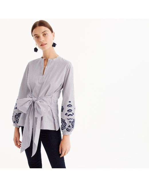 J.Crew   Purple Petite Embroidered Tie-front Tunic   Lyst
