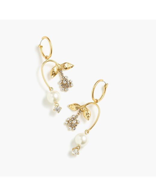 J.Crew - Multicolor Pearl And Crystal Blossom Earrings - Lyst