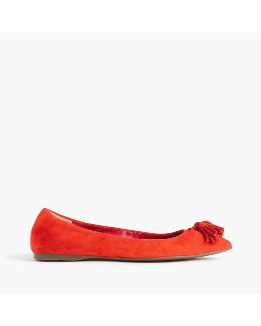 J.Crew | Red Lottie Tassel Flats In Suede | Lyst